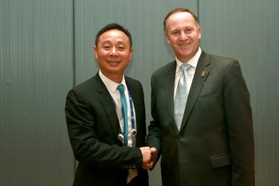 2013年APEC工商领导人峰会上,新西兰总理接见黄金宝董事长